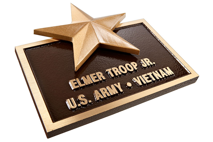 Brass Plaque with Cast Bronze Star